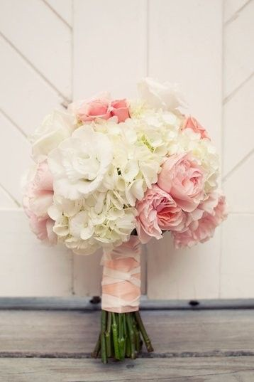 Pink And White Mixed Flower Wedding Bouquet