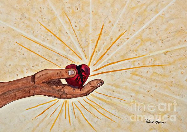 'He is Healing Broken Hearts' Fine Art Watercolor by Valerie Garner This is a depiction of the hand of Jesus Christ, holding a broken, bleeding and bruised heart. Light and glory rays are shining out in all directions from His hand. He is healing broken hearts, whatever the cause.