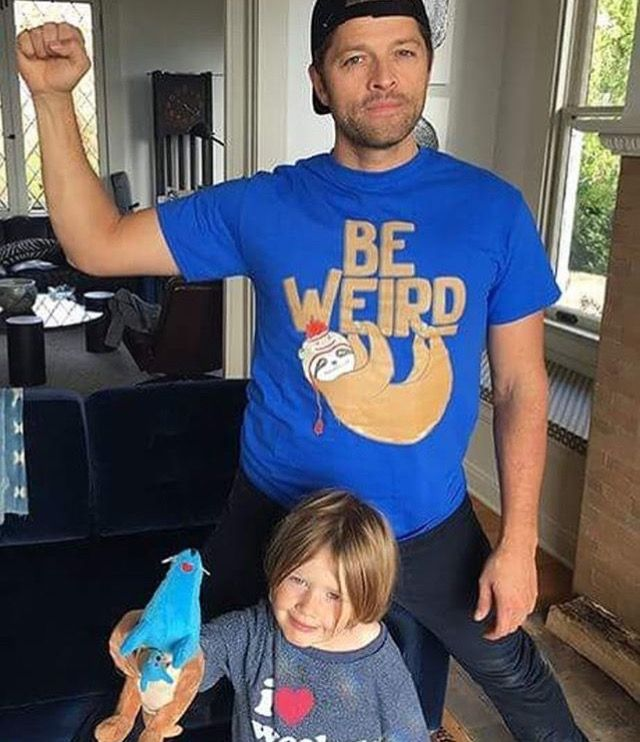I'm wearing the exact same tee shirt as Misha is! Also, Maison is such a cutie!