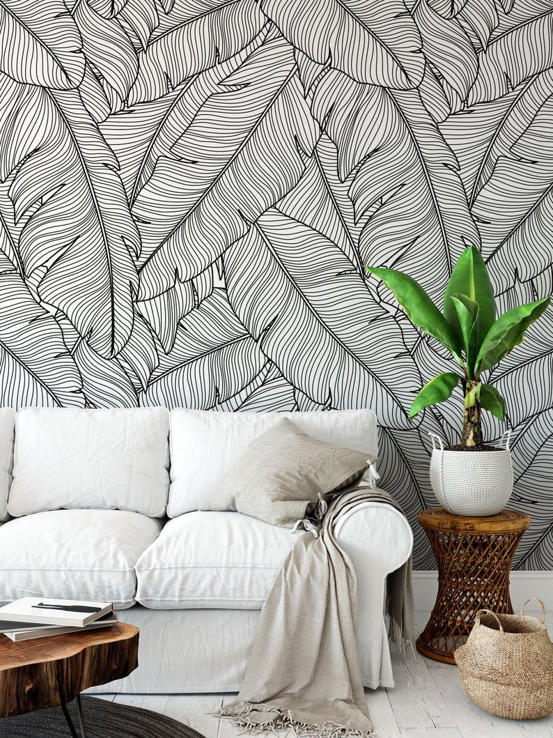 Tropical Removable Wallpaper Banana Leaves Wallpaper Modern Wallpaper Peel And Stick Wallpaper Self Adhesive Wallpaper 097 In 2021 Banana Leaf Wallpaper Removable Wallpaper Leaf Wallpaper