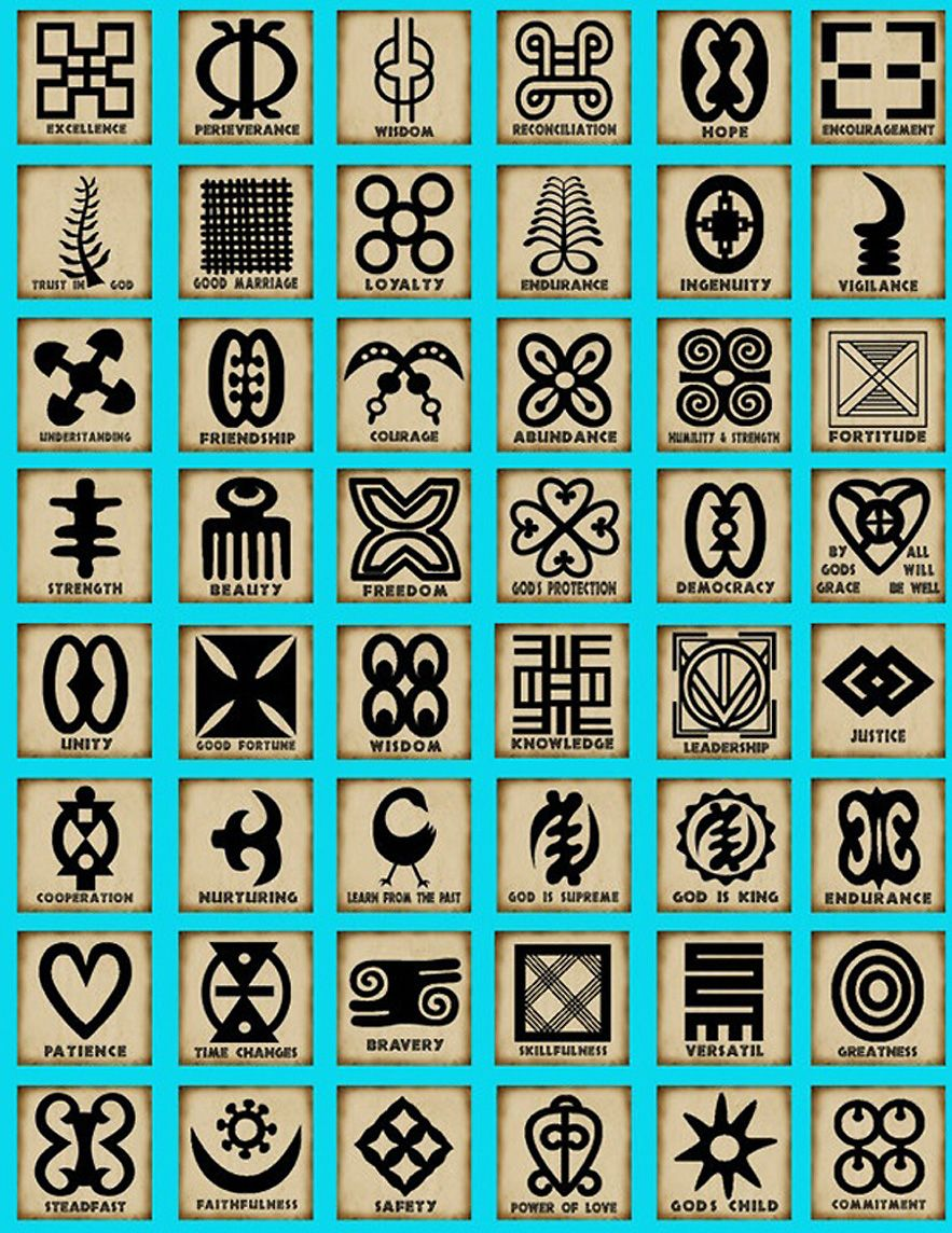 Adinkra Symbols This Page Show A Few Of The Stamp Designs Used In