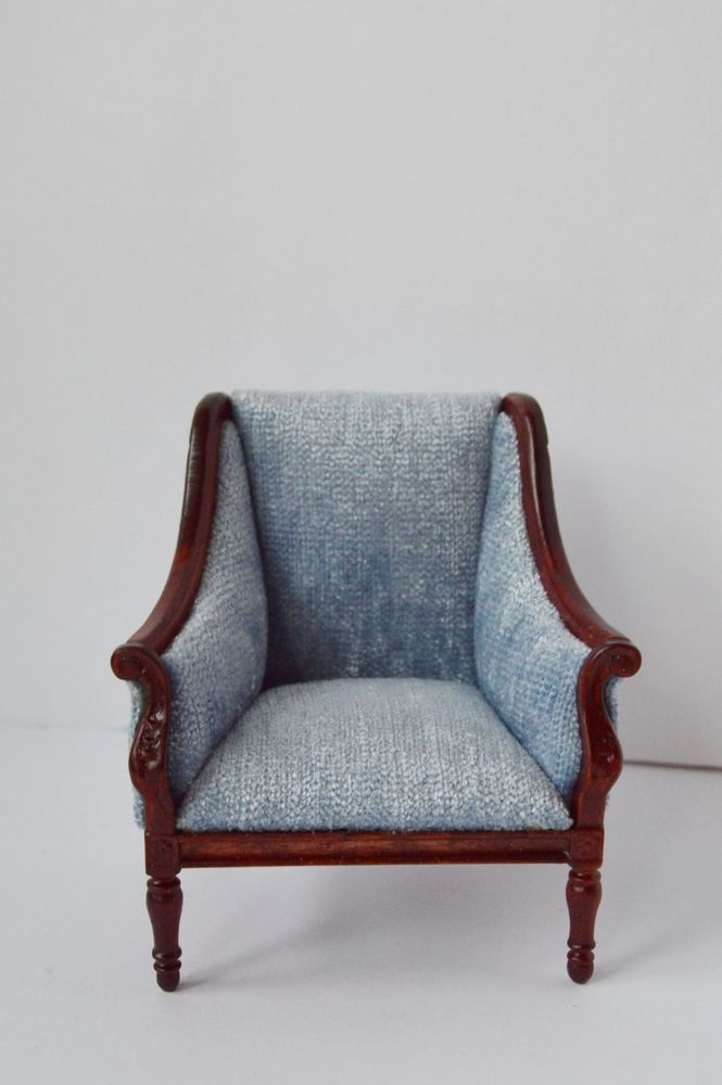 3011mh Upholstered Mahogany Chair Dollhouse Miniatures Furniture 1//12