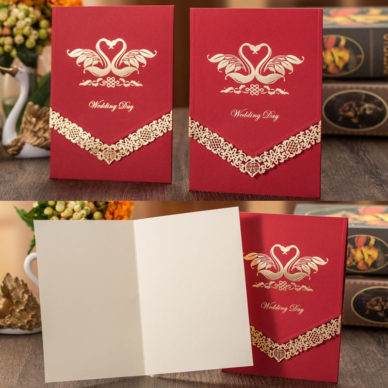 58.99$  Buy now - http://ali1e4.shopchina.info/go.php?t=32794114823 - 50pcs Swan Pattern Luxurious Marriage Wedding Invitations Cards Greeting Card 3D Card Laser Cut Postcard Event Party Supplies  58.99$ #magazineonlinebeautiful