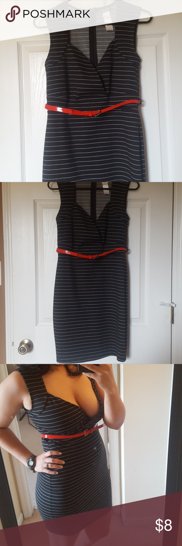 Stripped dress with red belt stripped dress red belt and dresses
