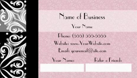 Elegant parisian black and white damask pink ribbon refer a friend elegant parisian black and white damask pink ribbon refer a friend business cards http reheart Gallery