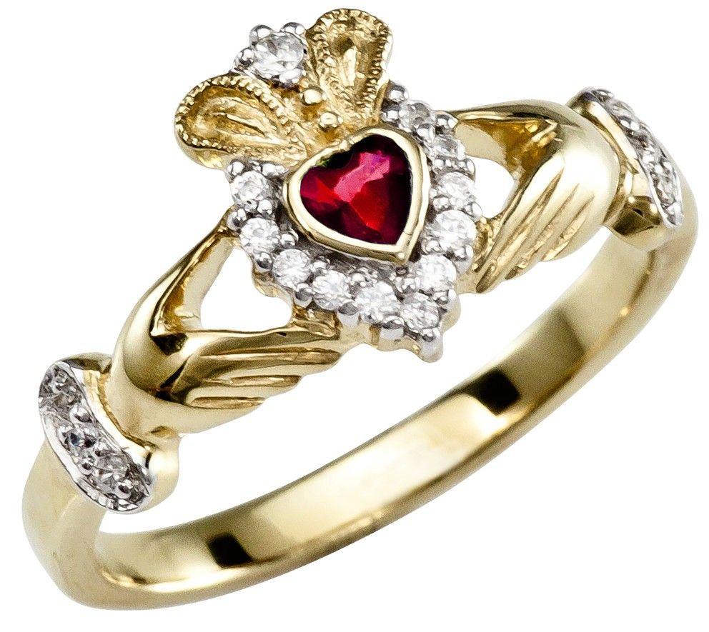 January Birthstone 10K/14K/18K Yellow Gold Claddagh Ring