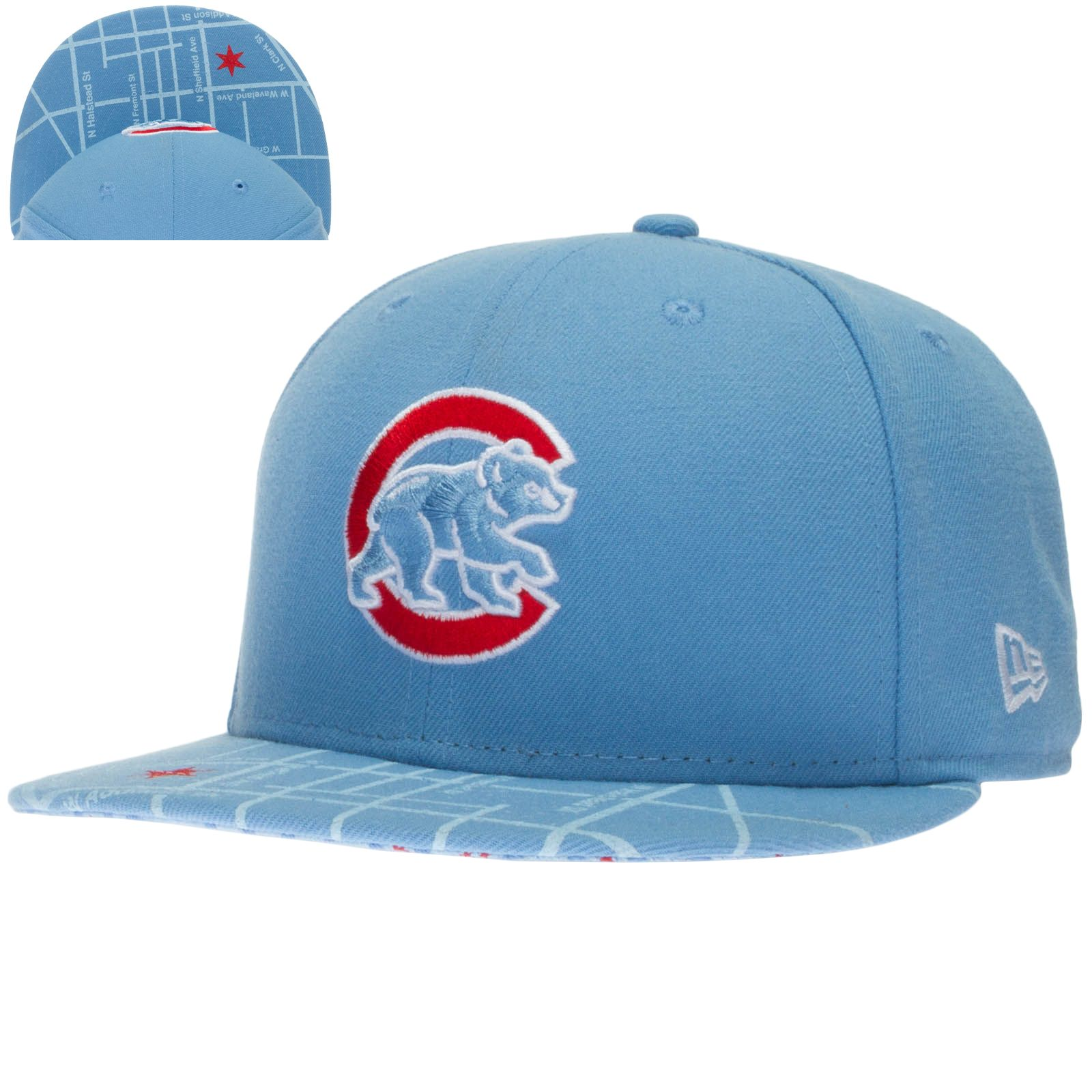 Chicago Cubs Light Blue Wrigley Field Field Map Bill Snapback Hat by New Era   Chicago  ChicagoCubs  Cubs a7bb41a62505