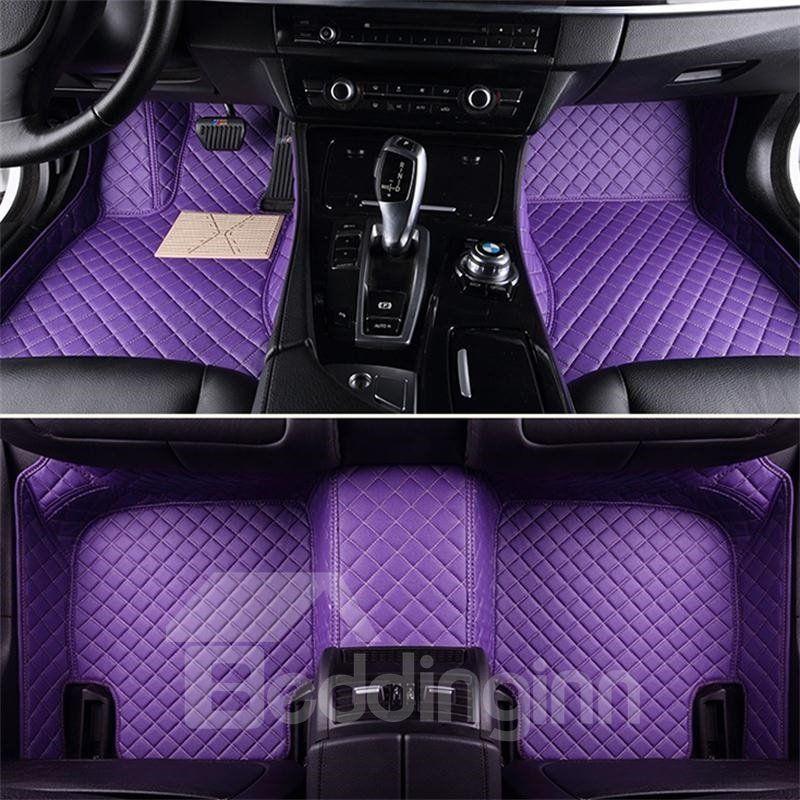 Luxury Series Plaid Trims Design Leather Carpet Custom Fit Car Floor Mats Liners Beddinginn Com Purple Jeep Blue Car Accessories Custom Car Floor Mats