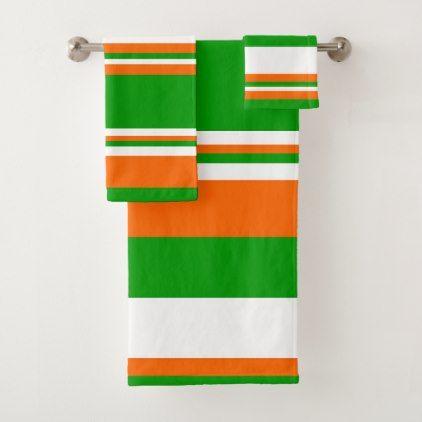 Green White And Orange Stripes Bath Towel Set Zazzle Com