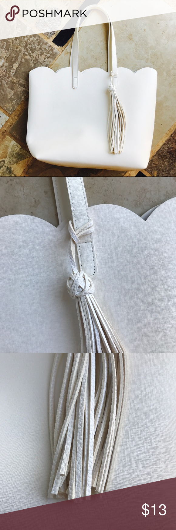 EXTRA LARGE WHITE TASSLE LEATHER TOTE Vegan leather. Adorable !!! Used only twice. White isn't my color ... amazing bag tho!!! Xo Bags