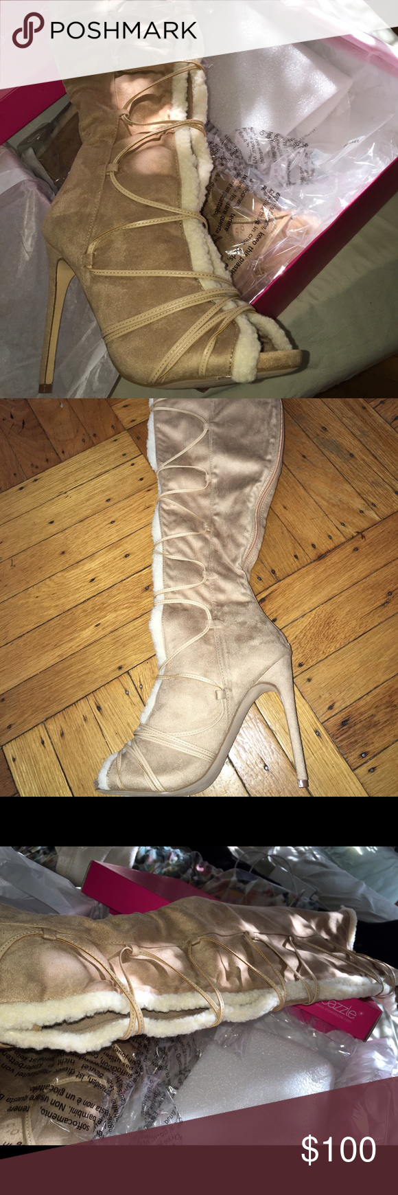 NEW❤️ Nude Knee High Booties!!! Worn Once!! Nude Wool Lined interior, zipper back, Size 7 Shoes Over the Knee Boots