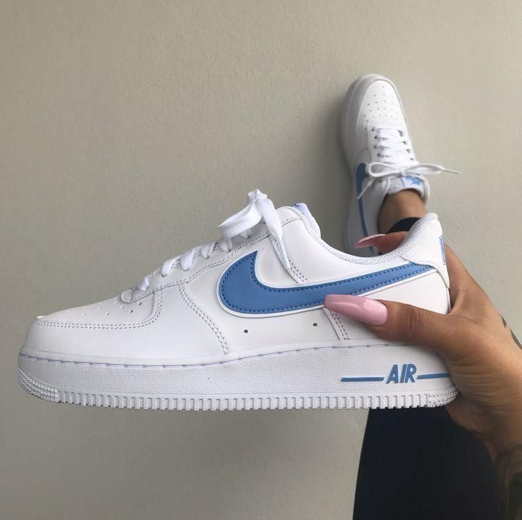 Original Official Nike Air Force 1 Af1 Men Powder Blue Customized Zapatos Nike Mujer Zapatos Nike Modelos De Zapatos Nike