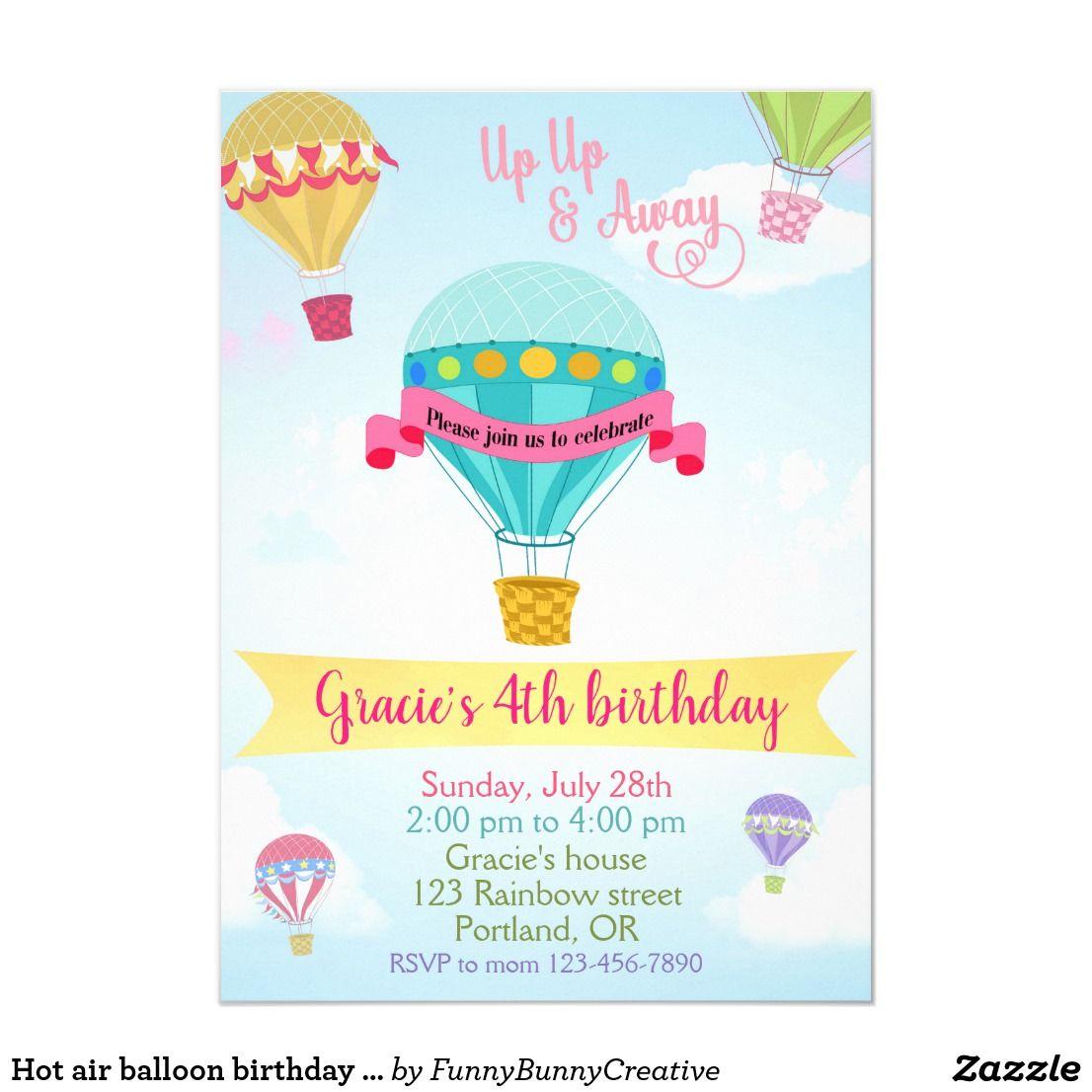hot air balloon birthday invitation boy
