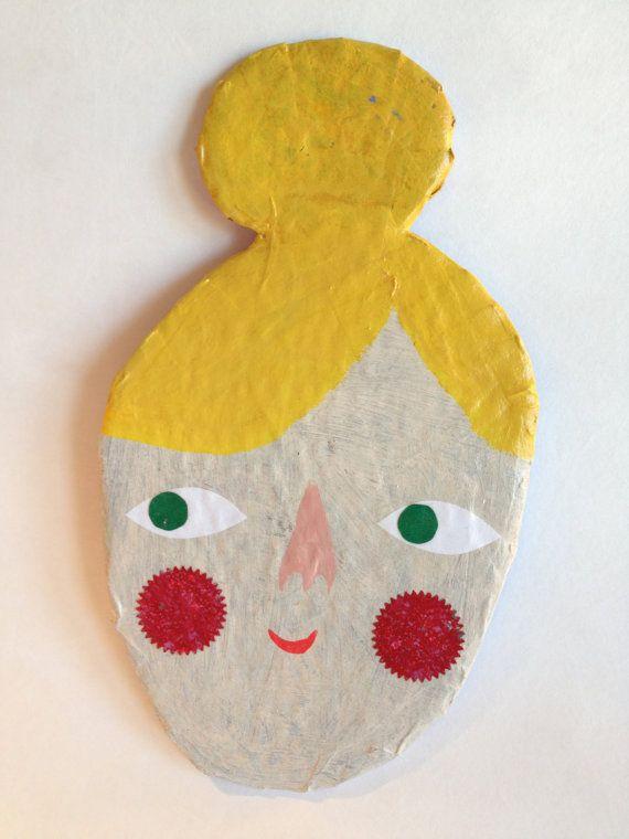 """Bun Head Beauty face - paper mache wall art. 2nd grade Mother's Day gift. Paperplate """"head""""?"""