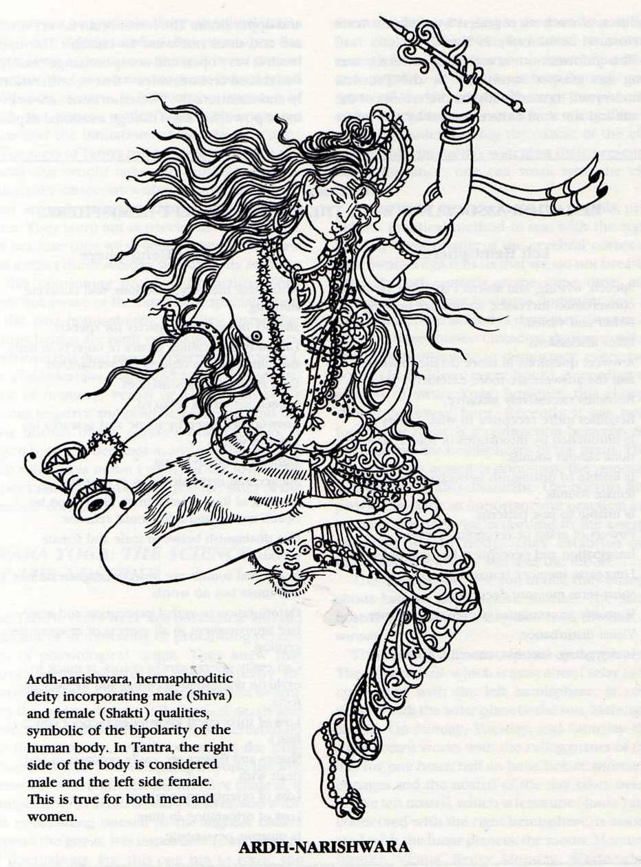 ardhanarishvara right the male energy shiva and left the female