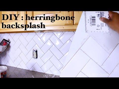1 Herringbone Tile Kitchen Backsplash Kitchen Makeover Life With Queenii Youtube In 2020 Kitchen Backsplash Herringbone Tile Herringbone Tiles Kitchen