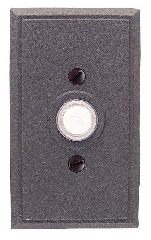 "Emtek 2433 4-3/8"" Height Rectangular Style Steel Lighted Doorbell Rosette from t Flat Black Door Bell Lighted Button"