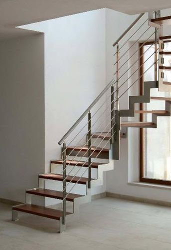 Escalera en u con zancas laterales estructura met lica y pelda os de madera ibisco c new - Escaleras de madera modernas ...