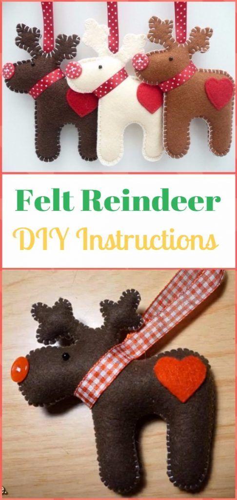 DIY Felt Christmas Ornament Craft Projects Instructions #feltcreations