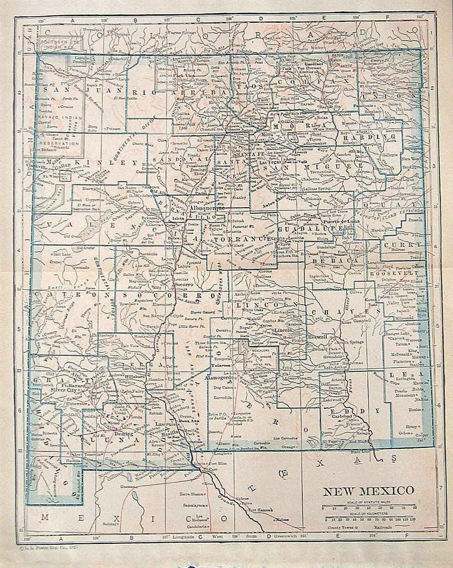 1925 State Map Of New Mexico Colored Vintage Map 12 00 Via Etsy