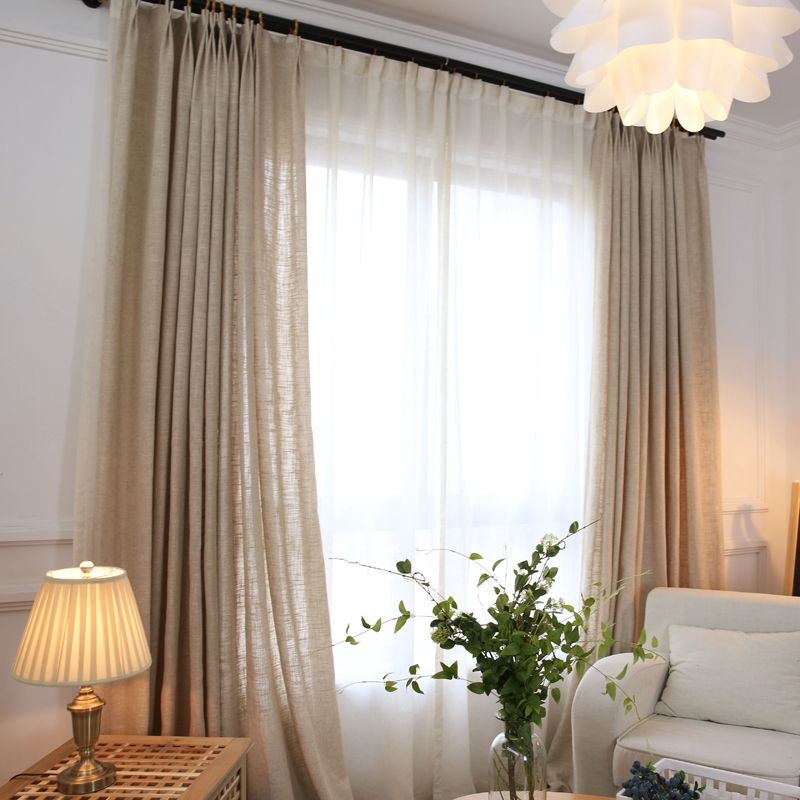 Colored linen curtains 2016 new japan linen color tulle - Off white curtains for living room ...