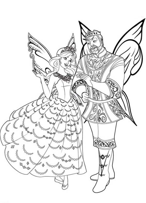 Barbie Mariposa King And Queen Of Flutterfield Kingdom Coloring Pages