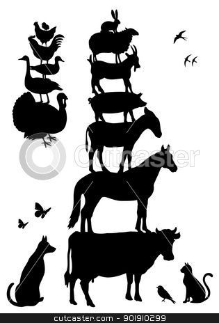 Vintage Farm Animal Stack Clipart Collection Animal Silhouette Animals Farm Animals