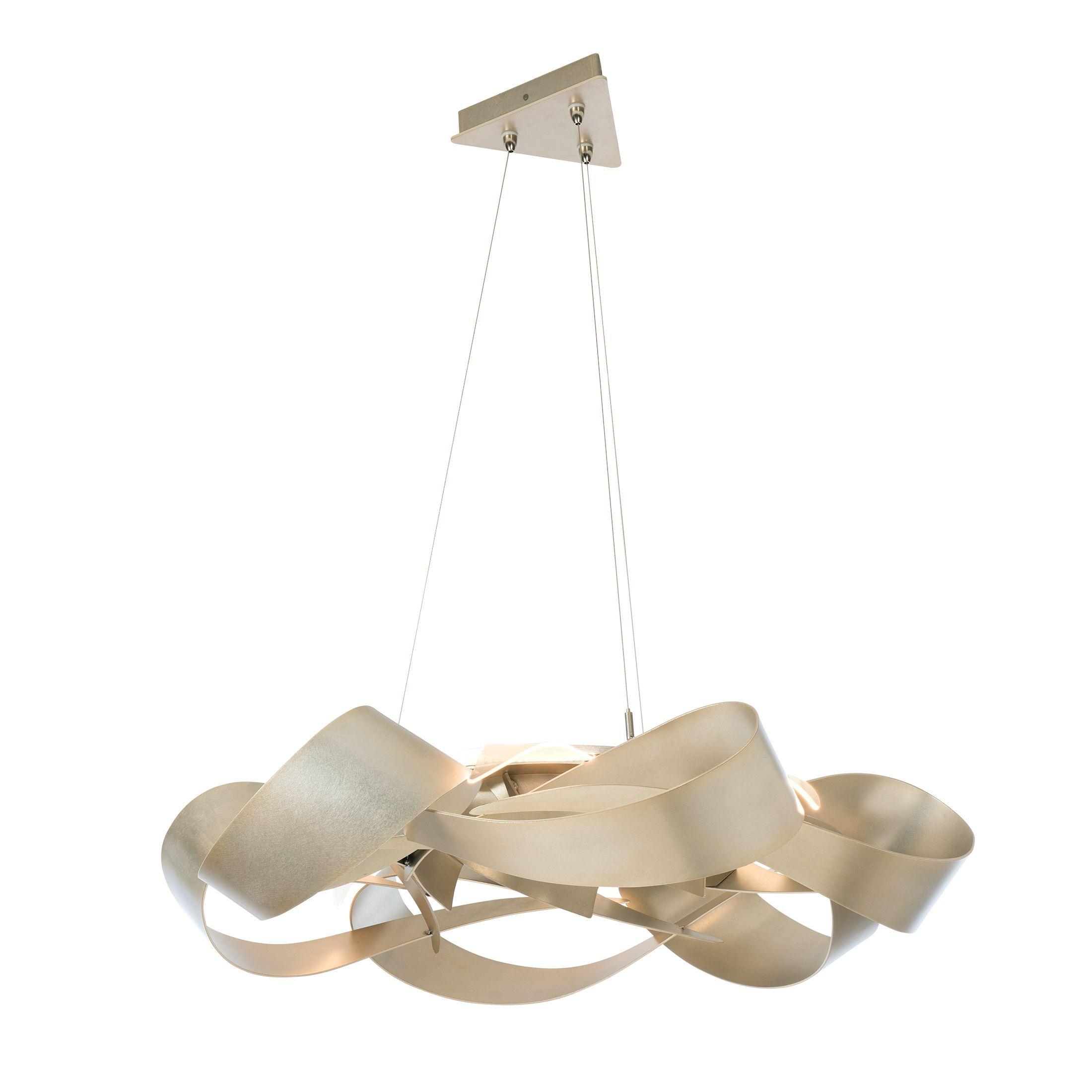 Hubbardton Forge Flux Large Led Pendant Our Scale Utilizes Six Separate Edge Lit Light Guides To Elegantly Illuminate The Soft Gold