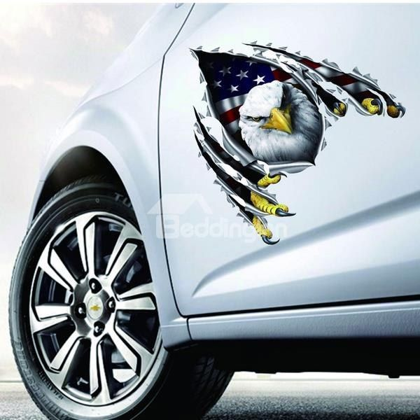 Lifelike 3D Vivid Eagle With #American #Flag Style Car Sticker