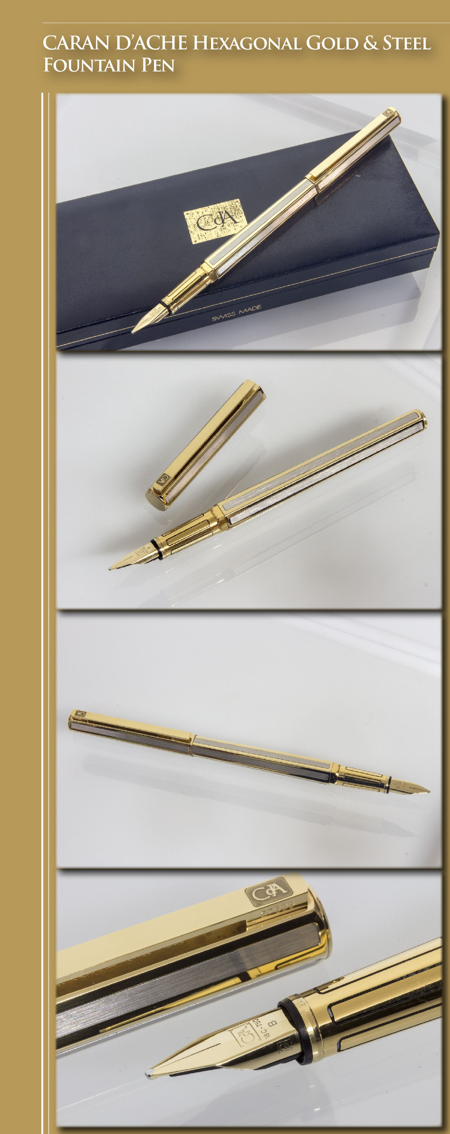 CARAN D'ACHE Hexagonal Gold & Steel Fountain Pen (brass body with steel and gold inlays, gold-plated trim and , 18kt gold nib) - 1990s / Switzerland