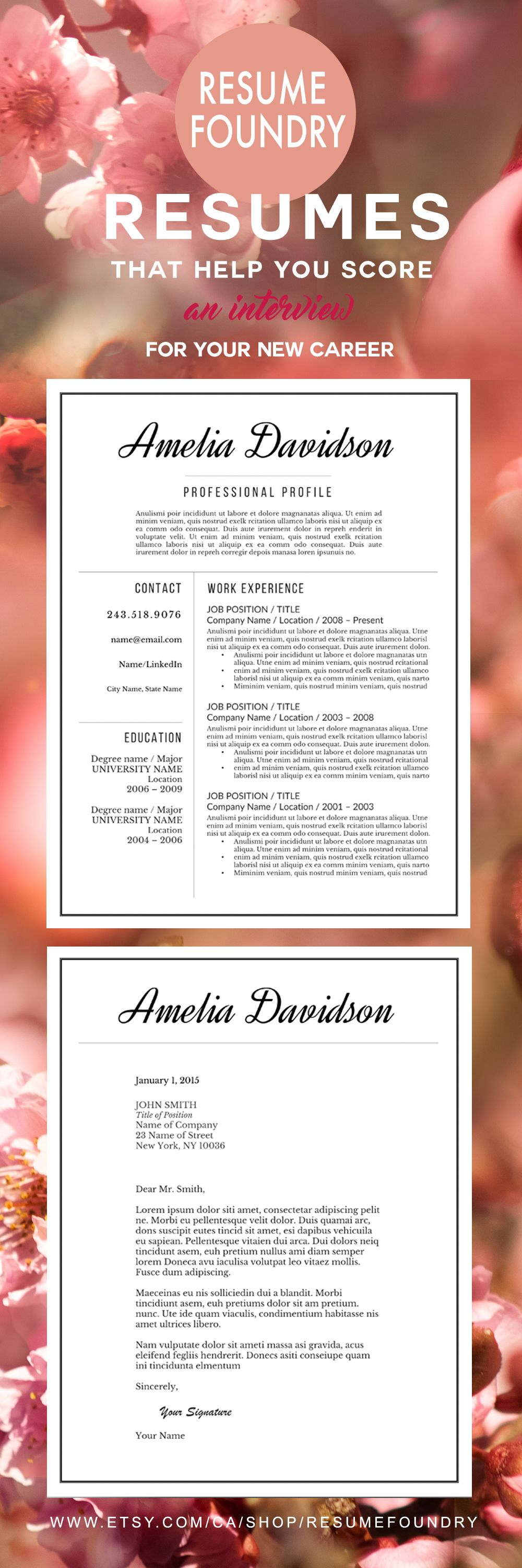 Professional Resume Template  The Amelia  Microsoft Word