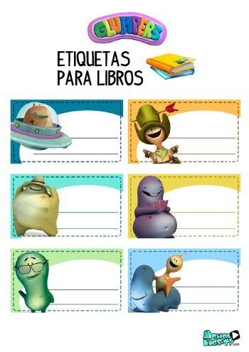 Imprimible etiquetas para libros de los dibujos animados Glumpers ...