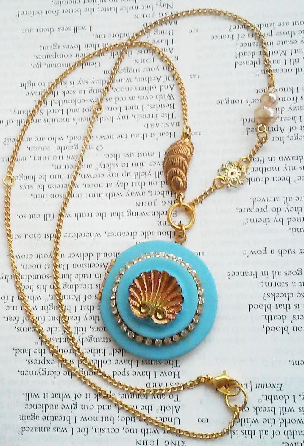 Underwater Ocean Vintage Carnival Glass Sea Shell Matte Blue Locket Gold Tone Jewelry Necklace by DreamAddict on Etsy