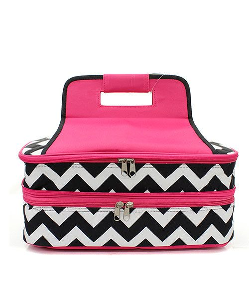 d815d00eab9358 Personalized Chevron Insulated Casserole Carrier - Double Decker -  Collapsable, Expandable, Insulated Cooler - Monogrammed - Hot or Cold by ...