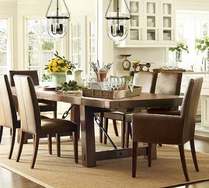 Pottery Barn Benchwright Dining Table With Parsons Chairs There Is An Ana White Knock Off To Diy