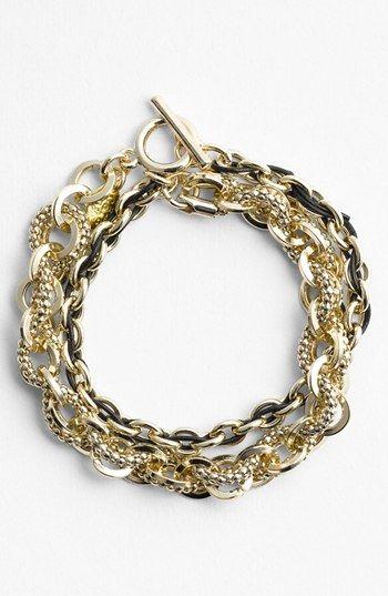 36a536eebe85 Cara Link   Leather Double Wrap Bracelet Love the chunky bracelet ...