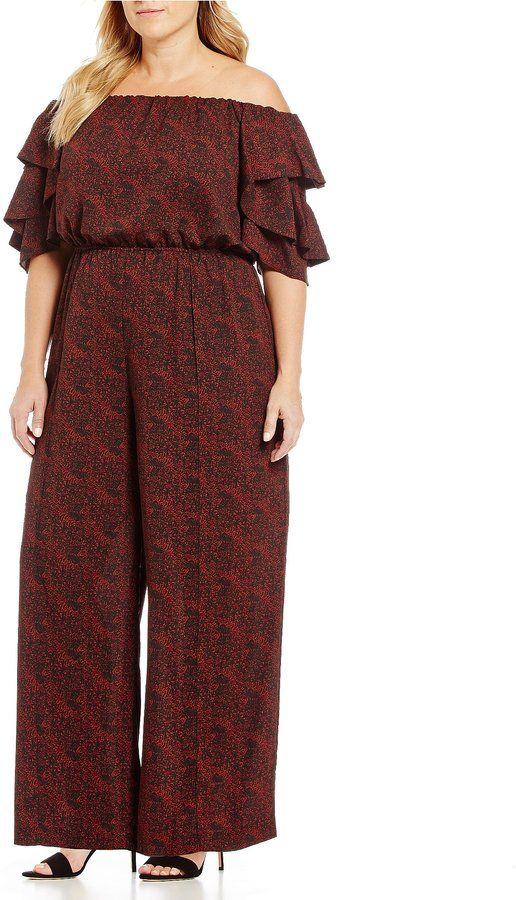 Gibson Latimer Plus Dot Printed Off The Shoulder Jumpsuit
