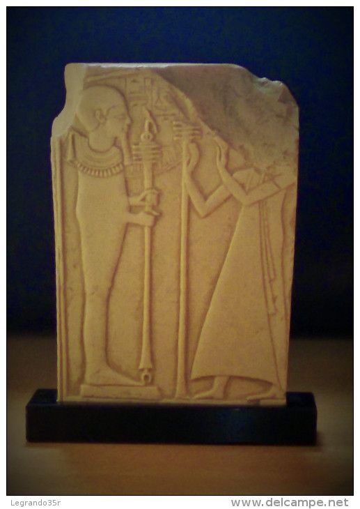 a88be7bcd1e Vizir en prière devant le dieu Ptah au verso d une stèle de Ramsès II. Moulage  Résine Stèle De Ramsès II Enfant. Musée du Louvre.