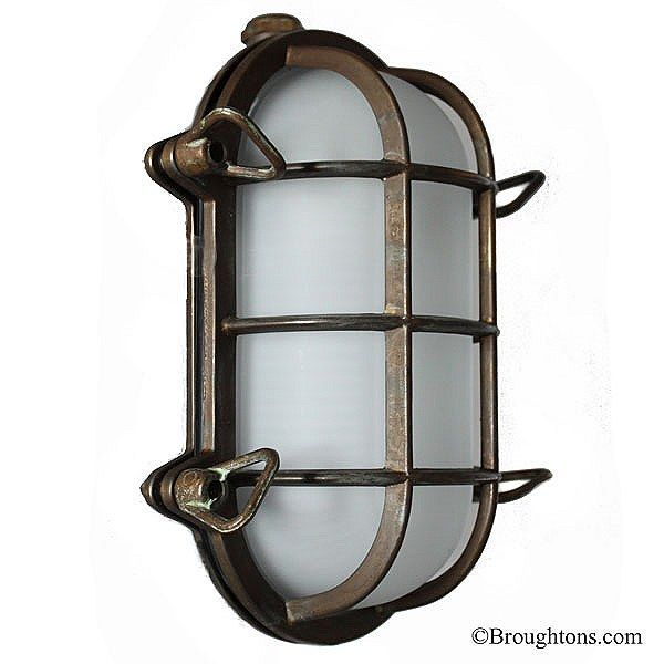 Oval Bulkhead Flush Outdoor Wall Light Aged Copper | Outdoor walls ...