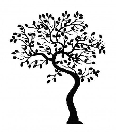 Handmade Tree Silhouette PDF Cross-Stitch Pattern