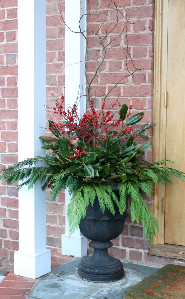 4 outdoor holiday decorating ideas bright bold and beautiful christmas urns christmas planters - Decorating Front Porch Urns For Christmas