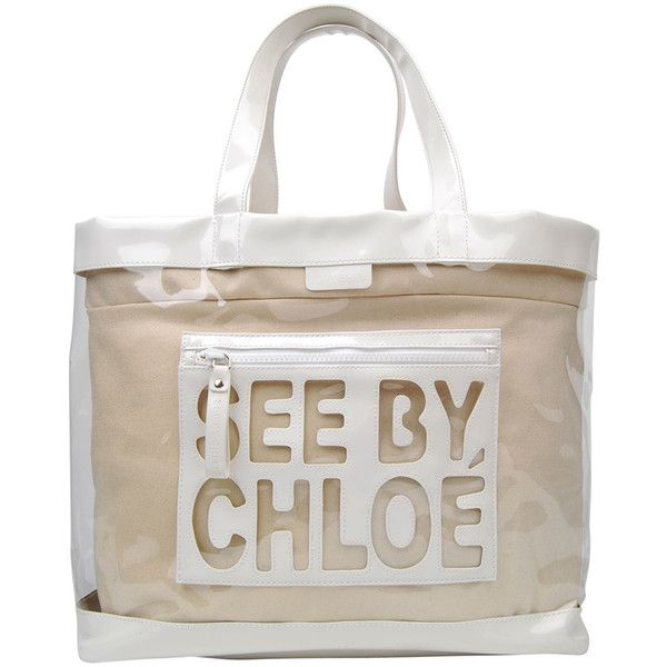 See by Chloe big logo beach bag ($175) ❤ liked on Polyvore ...
