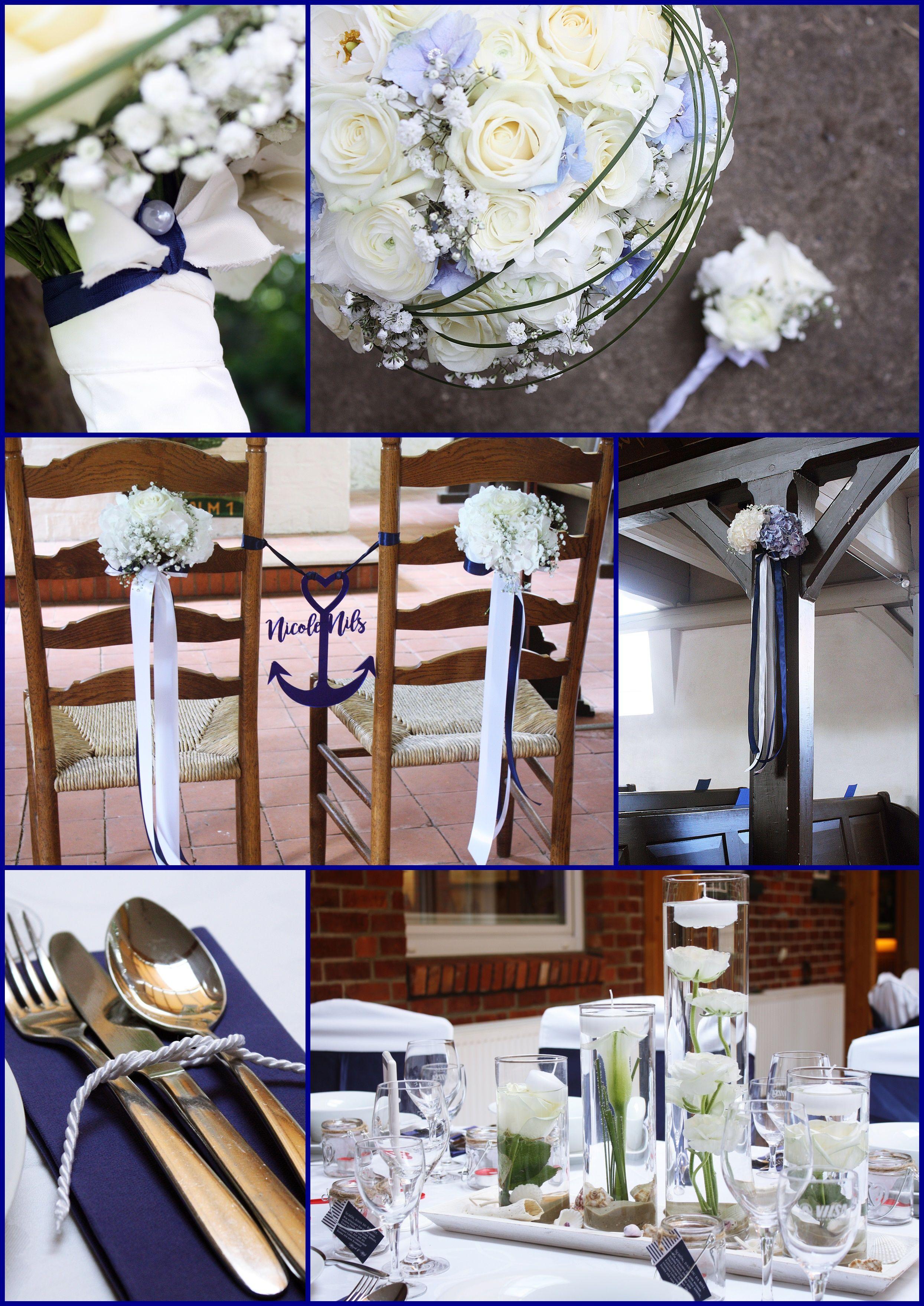 maritim blau hochzeit anker rosen hortensien servietten tau schwimmkerzen tablett muscheln perle. Black Bedroom Furniture Sets. Home Design Ideas
