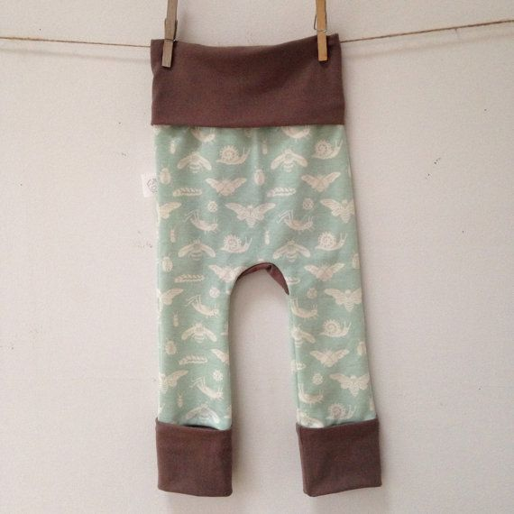 Size One Grow with Me Pants Bugs  Mint  with Taupe by MamaHensPage