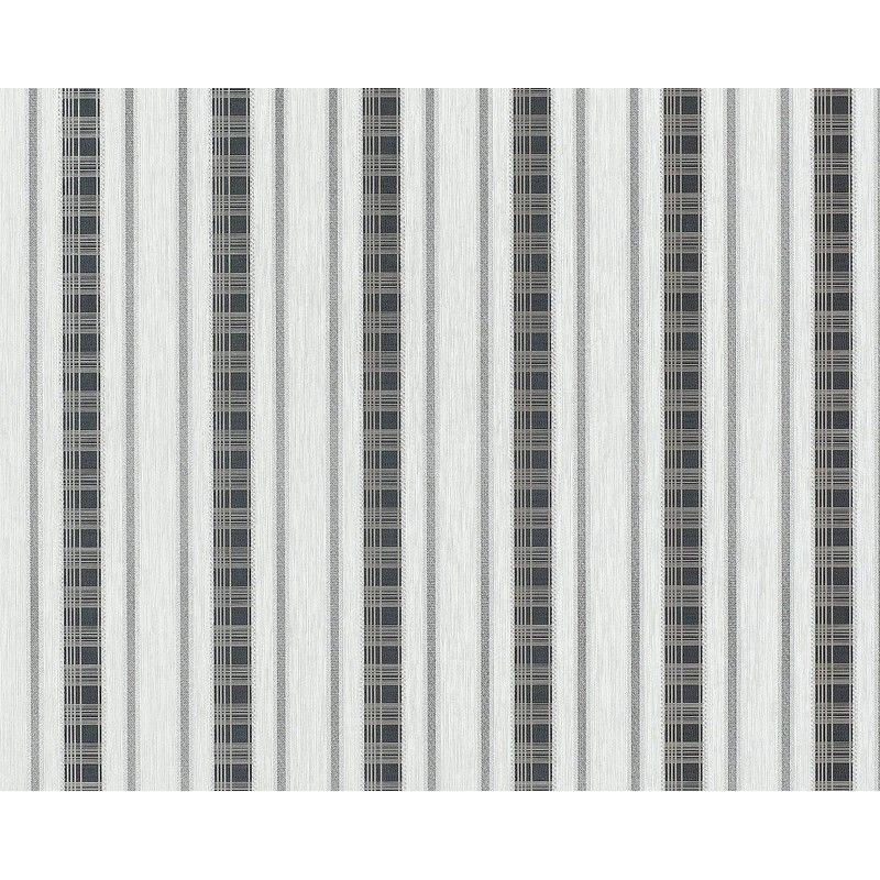 Papier peint intissé en relief EDEM 640-96 XXL aspect rideau rayé gris clair anthracite argent   10,65 m2
