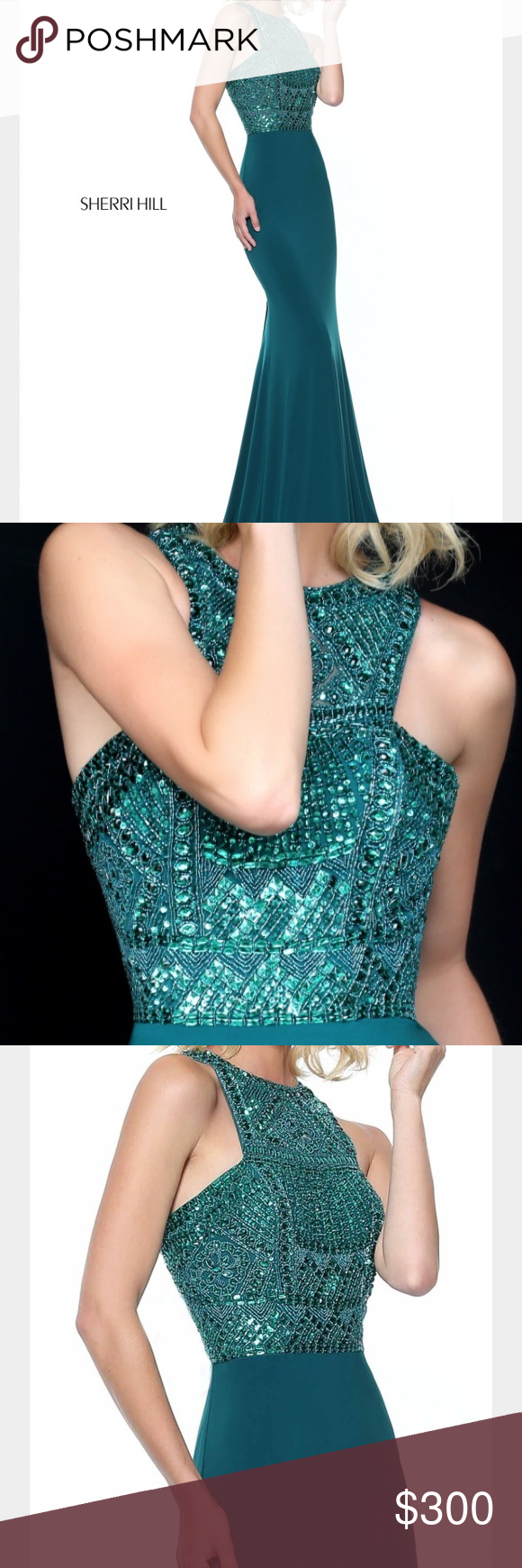 Spotted while shopping on poshmark sherri hill emerald prom dress