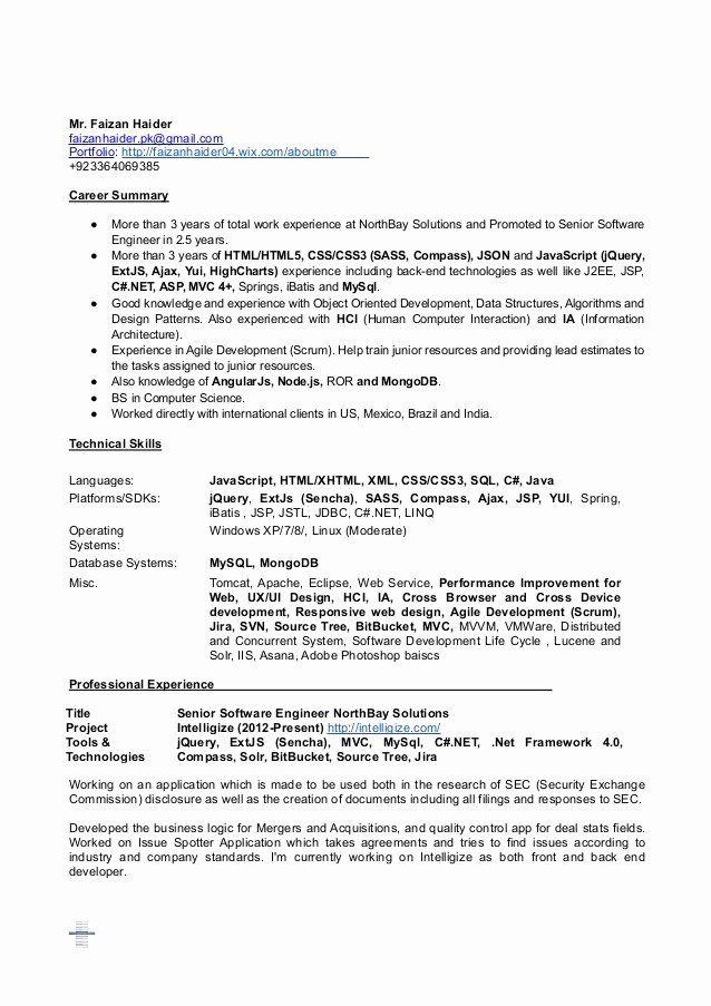 Junior Web Developer Resume Inspirational Faizan Haider Sr Software Engineer Full Stack Web Develope Resume Software Job Resume Samples Business Analyst Resume