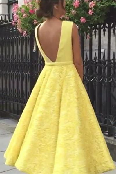 Modest Yellow Deep V-neck Lace Backless Tea Length Prom Dresses Z0370 bc2aba1f0