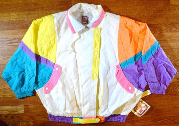 Absolutely Amazing Psychedelic Windbreaker - Hot Tub Time Machine Neon Ski Jacket - Unisex Medium jRfrEp8
