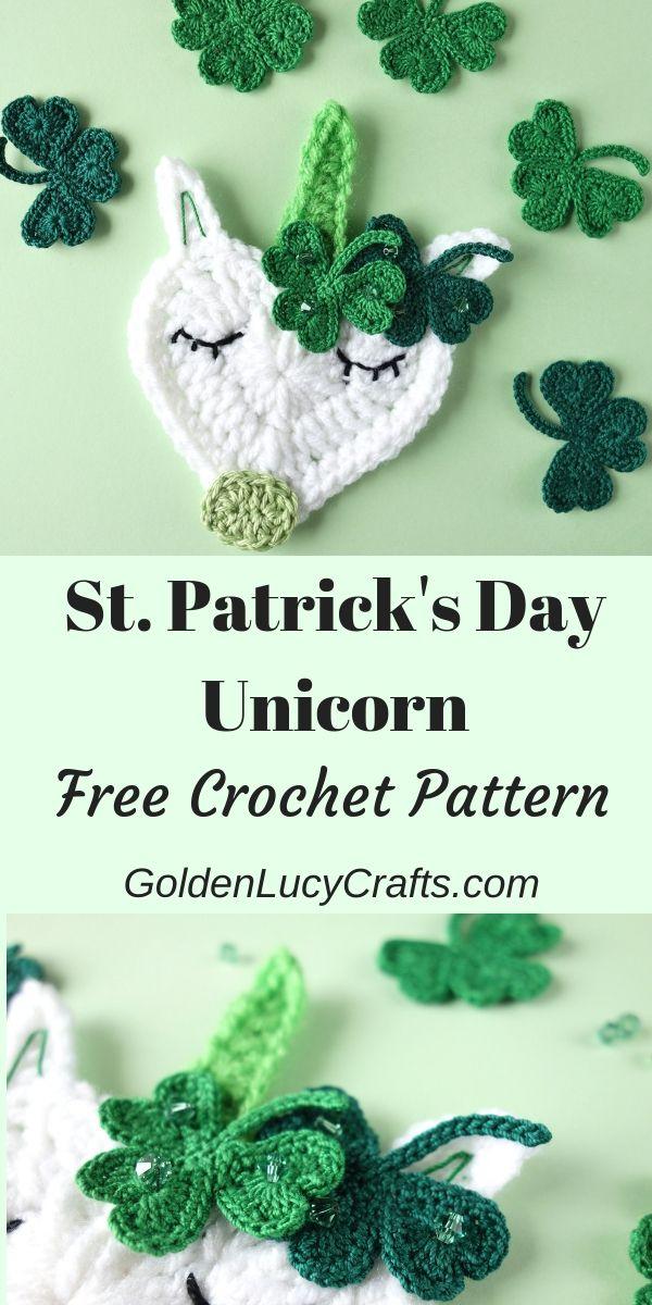 St. Patrick's Day Crochet Unicorn Applique, Free Crochet Pattern